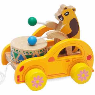 宝宝拖拉木制质学步车婴儿童小熊 敲鼓敲敲敲打拖拉车益智力玩具 拖拉学步发音 滑行宝宝*