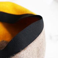 时尚羊毛贝雷帽女士秋冬季韩版日系拼色南瓜帽英伦复古画家帽子蓓蕾帽
