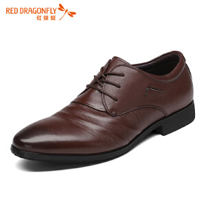 红蜻蜓真皮男鞋2017冬季新款正品正装商务皮鞋子男英伦绅士婚礼鞋