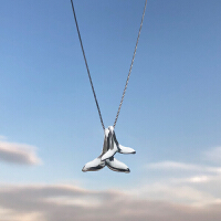 前任3同款海豚鱼尾吊坠小麋人S925纯银项链锁骨链饰品礼物女