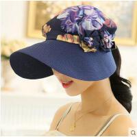 可折叠户外女帽沙滩帽太阳帽女士遮阳帽夏天大沿檐帽防晒帽女