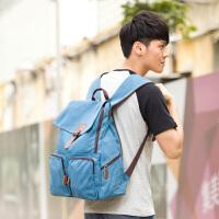吉野新款潮流时尚大容量双肩包男士韩版休闲背包男包包帆布包学生书包学院风旅行背包电脑包8080