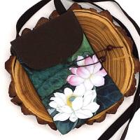 古风零钱包斜挎包手绘帆布小背包 中国风收纳手机包女 复古小清新