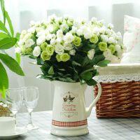 美式乡村欧式田园陶瓷花壶瓶玫瑰蕾仿真花艺套装假花绢花装饰摆件