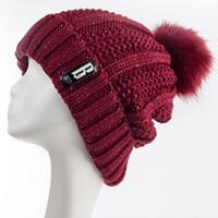 加绒毛线帽子女士冬天休闲百搭保暖针织帽加厚棉帽 酒 均码