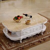 欧式茶几电视柜组套家具全实木雕花大理石面1.3m1.5m橡木 组装