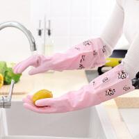 百露2双装洗碗手套女乳胶橡胶塑胶防水家务洗衣服加厚胶皮加绒