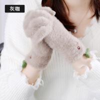 手套女冬可爱韩版学生触屏卡通可爱学生日系五指加厚保暖加绒手套