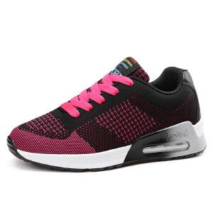 气垫跑步鞋厚底内增高运动鞋女秋季网面透气休闲鞋
