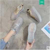 新款ins网红老爹鞋女水钻透明鞋水晶厚底休闲鞋小白鞋