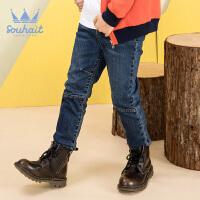 【3件3折:56元】水孩儿souhait童装秋冬装新款男童双层牛仔长裤AMD0835601