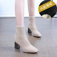 针织时尚瘦瘦短靴方头粗跟弹力袜靴2018秋冬新款中筒单靴高跟女靴