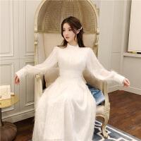 法式秋冬季裙装白色羽毛流苏阔太太连衣裙女长袖少女名媛气质长裙 白色