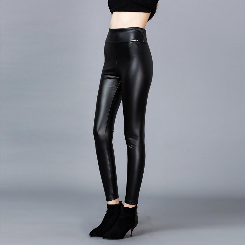2017春装新款欧美pu皮裤女紧身外穿小脚裤子高腰大码打底裤