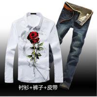---19岁20男孩初中学生青少年秋冬季长袖衬衫牛仔长裤套装