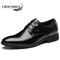 鳄鱼恤皮鞋百搭商务正装鞋真皮婚鞋系带尖头鞋舒适男鞋