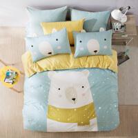 LOVO家纺 全棉双面磨毛保暖四件套 卡通床单被套 1.2/1.5米床 萌萌宠物
