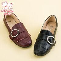 富罗迷女童鞋儿童皮鞋17秋季新款儿童高跟鞋公主真皮单鞋休闲皮鞋
