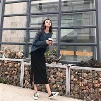 ins超火裙子女秋冬2018新款chic高腰半身裙针织包臀裙开叉一步裙 黑色 均码