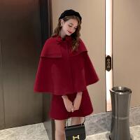MG小象减龄洋气两件套2019秋冬新款潮气质斗篷大衣复古半身裙套装