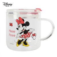 迪士尼牛奶杯带盖儿童玻璃水杯刻度早餐杯可微波家用吸管学饮杯
