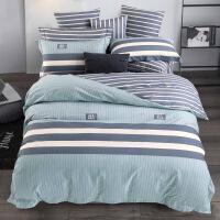 【官方旗舰店】纯棉四件套1.8m床单被套被罩北欧简约条纹被单三件套全棉床上用品
