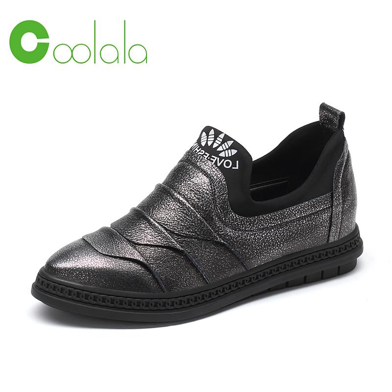 红蜻蜓coolala2017春季新款休闲女鞋韩版潮流板鞋内增高牛皮鞋子