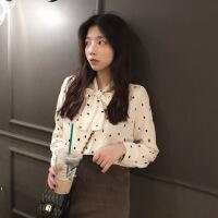 2018秋冬新款韩版女装波点百搭学生长袖雪纺蕾丝衬衫上衣女打底衫 奶油色 均码