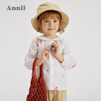 【1件5折价:69.5】安奈儿童装女童衬衣长袖2021新款洋气印花春秋装宝宝纯棉上衣翻领