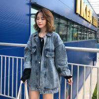 韩版宽松做旧原宿风牛仔外套女2018秋季新款中长款学生风衣上衣潮 浅蓝色