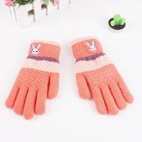儿童手套冬季加绒加厚保暖小学生针织毛线手套男女童五指手套