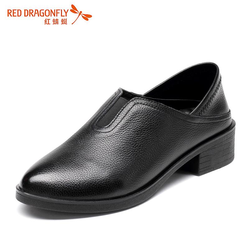 红蜻蜓女鞋2017春夏新款低跟浅口真皮柔软休闲妈妈鞋上班女单鞋子