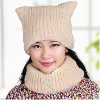女冬天毛线帽加厚保暖韩版针织帽加厚脖套套头帽加绒围脖