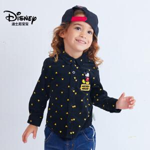 迪士尼宝宝森林探险男童梭织灯芯绒衬衫2018秋款上新