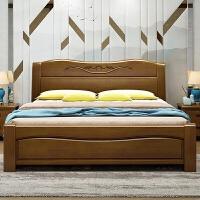 经济型实木床1.5m 主卧双人床1.8米现代中式婚床橡木高箱储物大床 +椰棕床垫+2个床头柜