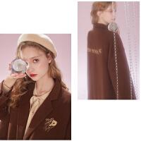 粉红豹联名款 MG小象毛呢外套女2019新款韩版复古西装短款呢大衣