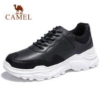 camel骆驼男鞋 秋季新款潮流运动休闲鞋舒适韩版拼接真皮休闲鞋