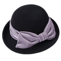 秋冬女羊毛毡帽英伦小礼帽卷边定型帽