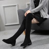 过膝长靴女2018新款韩版百搭平底弹力长筒靴子冬季瘦瘦靴加绒女鞋