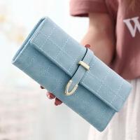 钱包女长款韩版潮个性时尚格子学生多功能零钱手拿包钱夹