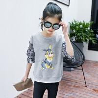 女童长袖打底衫春秋韩版儿童上衣中大童薄款T恤女孩百搭卫衣小衫 灰色