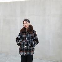 复古韩版时尚格子可拆卸毛领单排扣宽松加厚毛毛内里气质短外套女 格子外套 均码