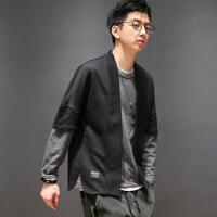 秋冬季日系套头卫衣男士休闲假两件日式和服长袖宽松潮 黑拼灰
