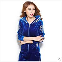 休闲套装女春秋卫衣两件套 新款韩版女装修身金丝天鹅绒运动服