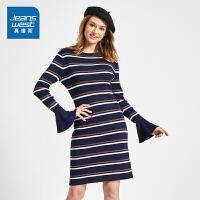 [满99减10元/满199减30元]真维斯女装 2019春装新款 条纹喇叭袖修身针织连衣裙