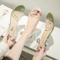 女士晚晚风温柔鞋 水晶一字带凉鞋女 新款高跟透明凉鞋女粗跟时尚单鞋