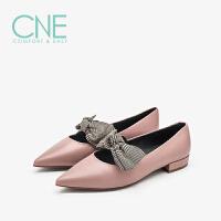 CNE2019春夏款晚晚鞋尖头格子平底蝴蝶结玛丽珍女单鞋9T12701
