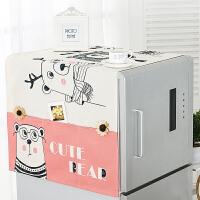 冰箱盖布防尘布防水滚筒洗衣机罩家用棉麻单双开门冰箱罩微波炉防尘罩口袋设计 防水-