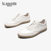 莱尔斯丹 男鞋时尚休闲运动圆头系带平底男鞋皮鞋小白鞋板鞋LS ATM84802