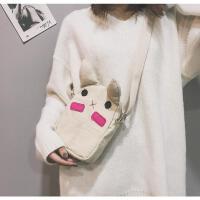 ins日系少女可爱萌兔耳朵小包包零钱包帆布斜挎包单肩学生小挎包卡通日系少女可爱萌兔耳朵小包包零钱包帆 米白色